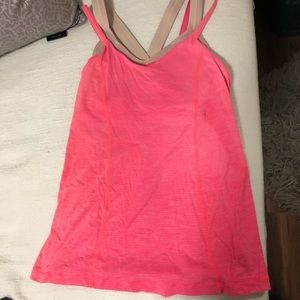 Lululemon tank top with bra in Coral